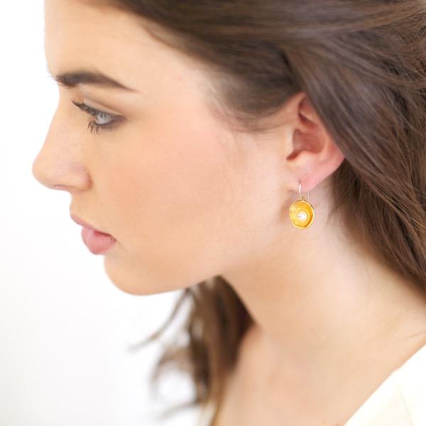 Gold Cap Earrings