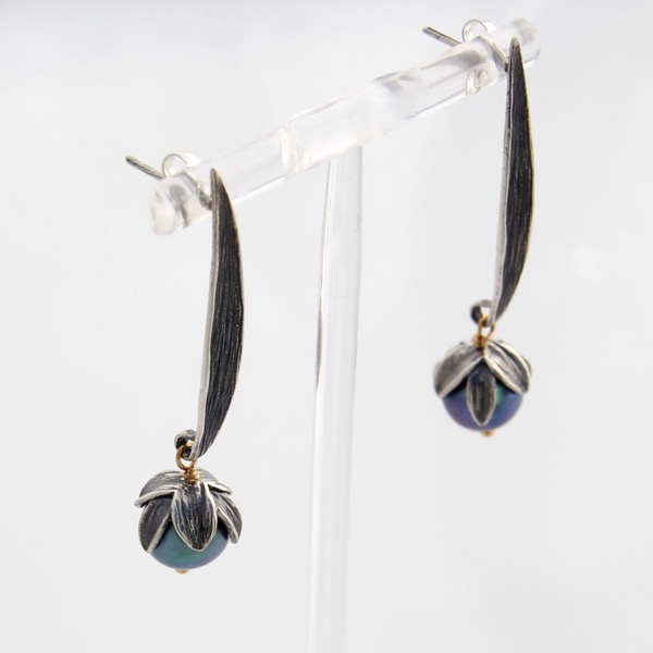 Grass Blade and Blossom Drop Earrings