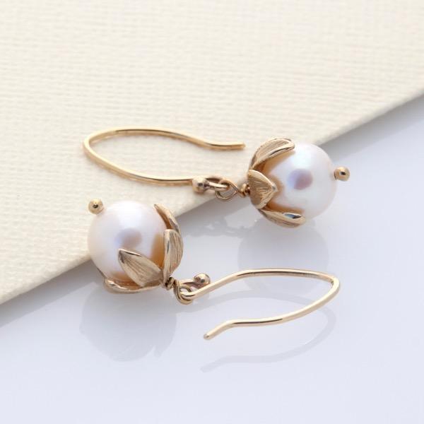 9ct Gold Pearl Blossom Drops