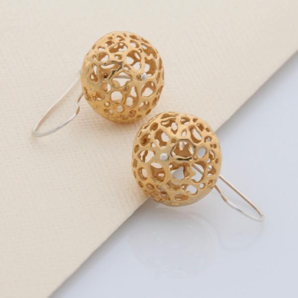Gold Lace Pod Earrings