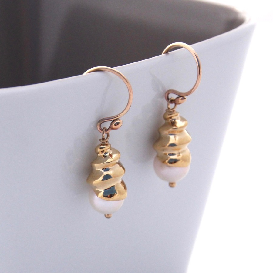 9ct GoldSpiral Shell Earrings