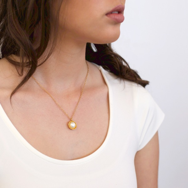 9ct Gold Pearl Cap Necklace