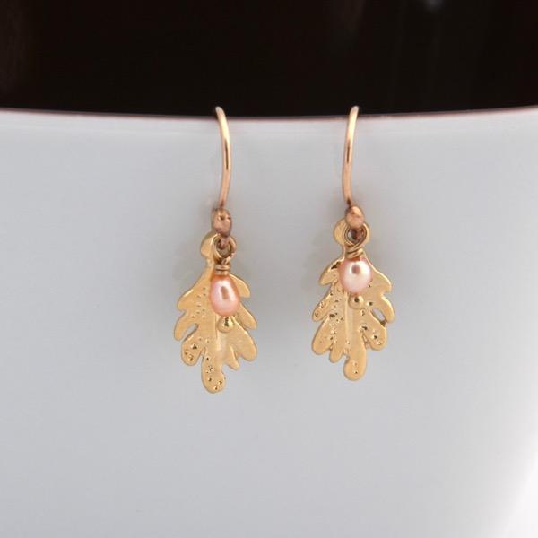Leaf Drop Earrings - Gold