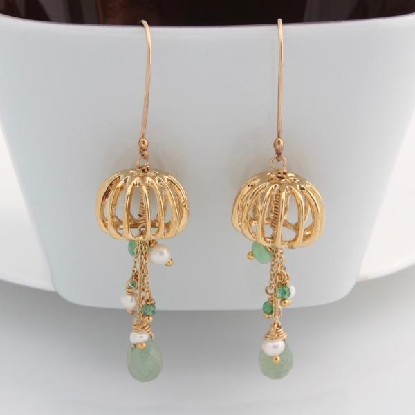 Gold Jellyfish Earrings - Green