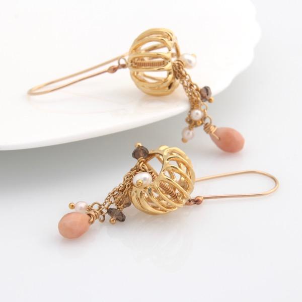 Gold Jellyfish Earrings - Peach