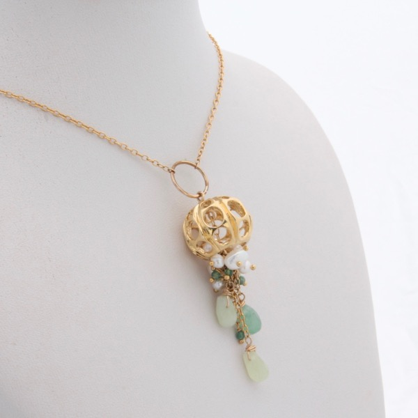 Gold Jellyfish Necklace - Green