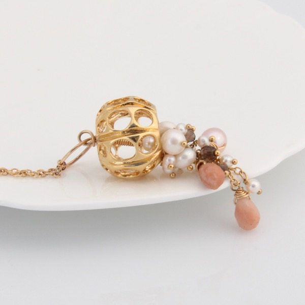 Gold Jellyfish Necklace - Peach