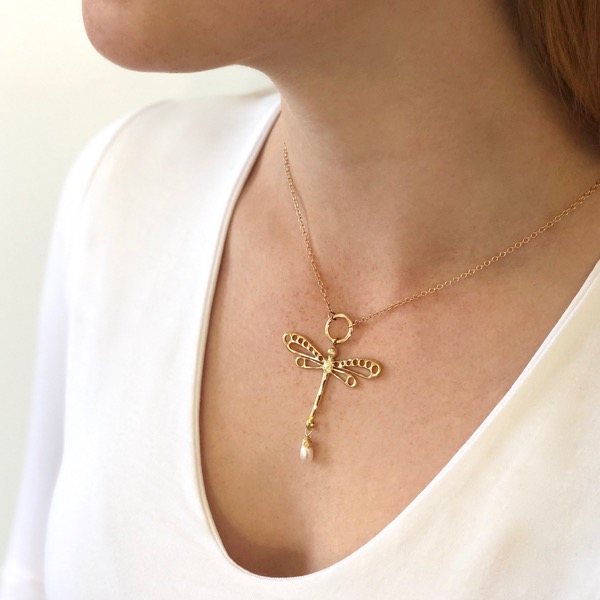 9ct GoldDragonfly Necklace