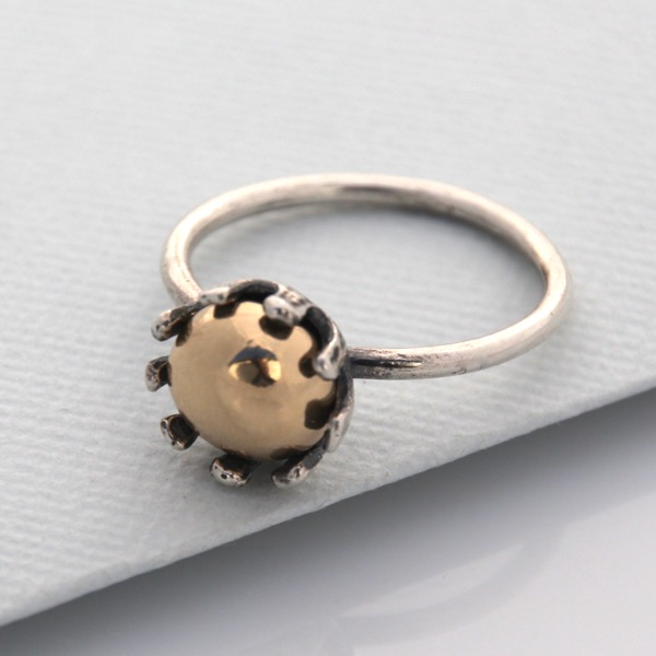 Crown Ring with Gold Pebble