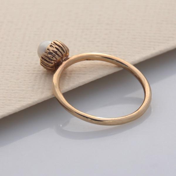 Textured Cap Ring - 9ct Yellow Gold