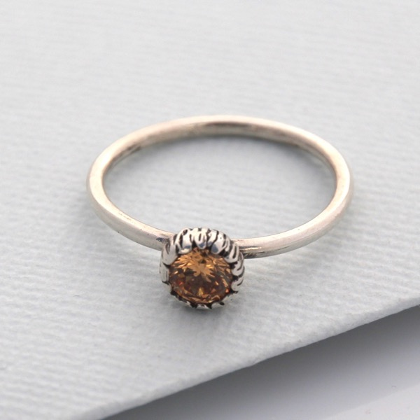 Textured Cap Ring with CZ Crystal
