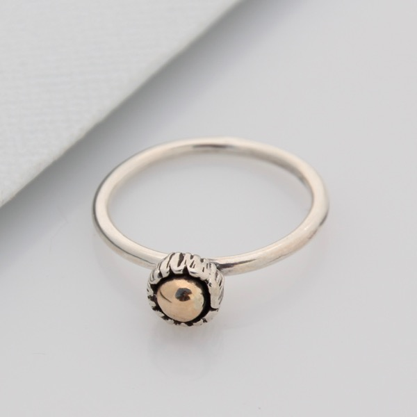 Textured Cap Ring with Gold Cabochon