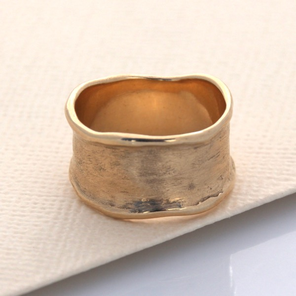 Solid Wave Ring - 9ct Yellow Gold